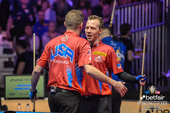 2016 Mosconi Cup Day 1 - 05 Justin Bergman and Skyler Woodward