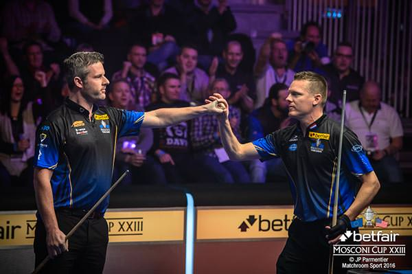 2016 Mosconi Cup Day 2 - 01 Mark Gray and Niels Feijen