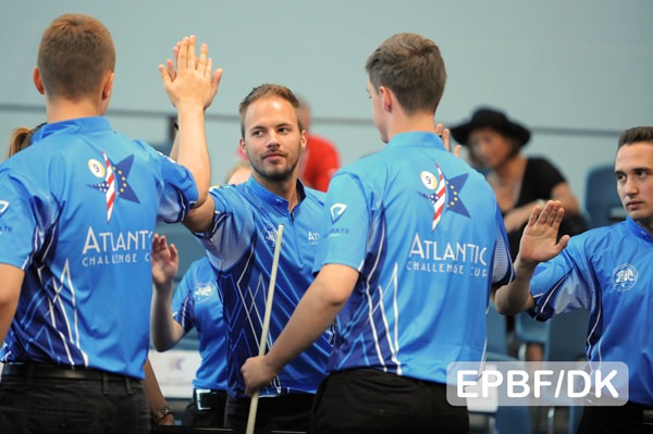 2017 Atlantic Challenge Cup - Team Europe giving high five to their captain Albin Ouschan
