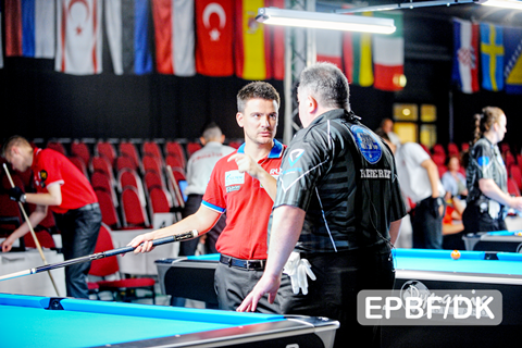 2018 The 40th EC - 8 Ball Konstantin Stepanov and referee Johny Vanrijkel
