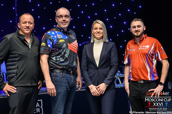 2019 Mosconi Cup XXVI - Ruijsink with Van Boening, Woodward and Matchroom Multi Sport COO Emily Frazer