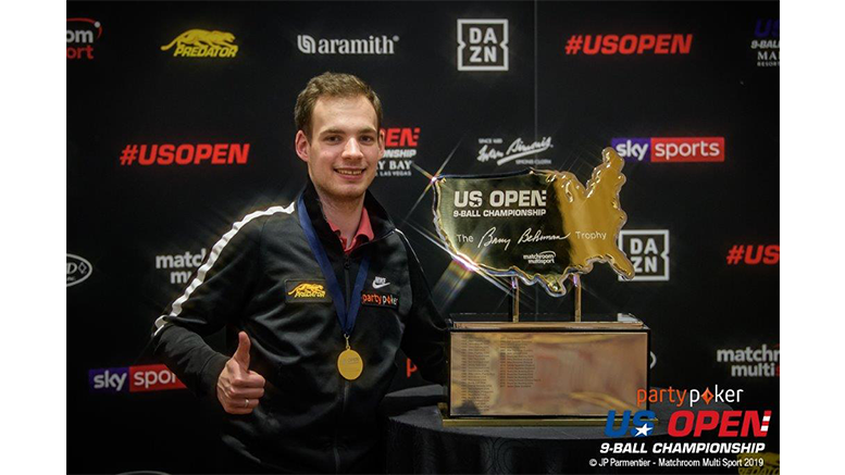 2019 US Open 9-Ball Championship - Final Joshua Filler with Trophy 777x437