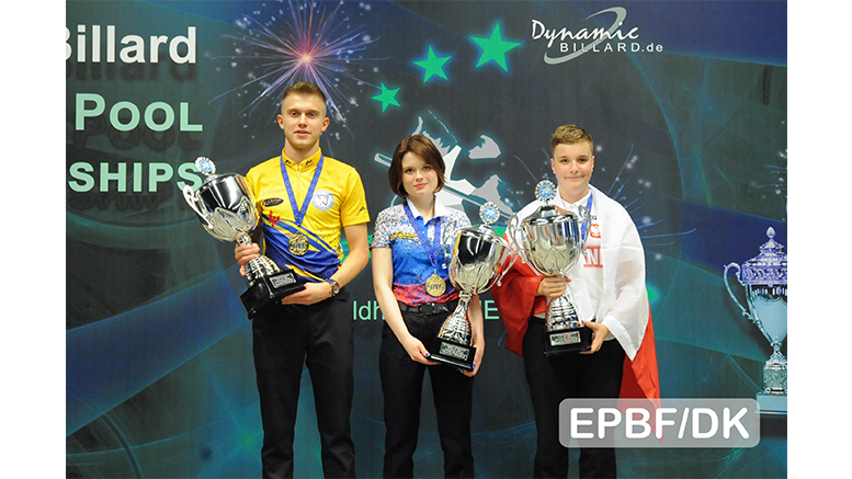 2019 European Championships Youth - Gold medals in 10-ball for Trushevskaia, Kural and Pehlivanovic 777x437