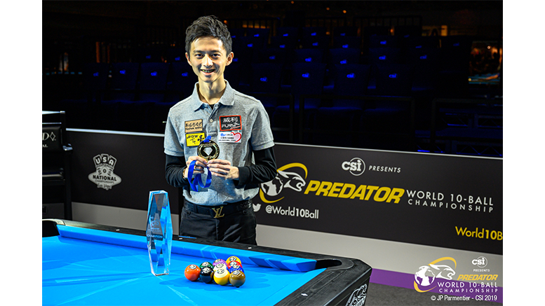 2019 Predator World 10-Ball Championship - Winner Ping-Chung Ko with trophy 777x437